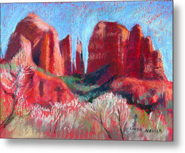 Cathedral Rock On Red Paper Metal Print