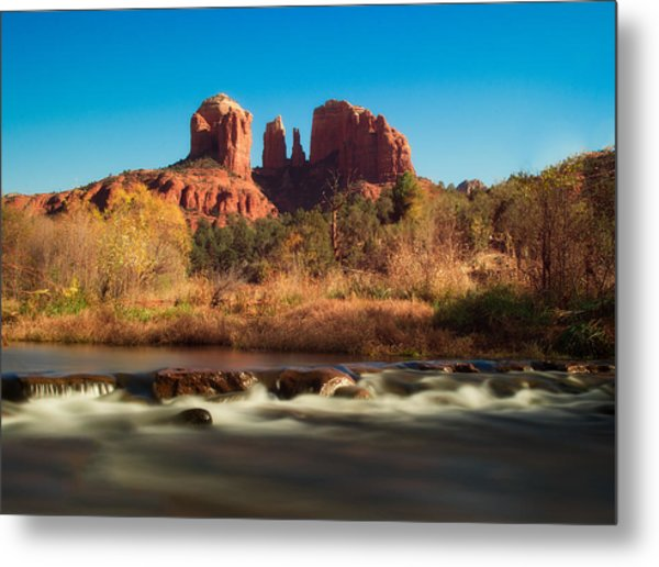 Cathedral Rock With Flowing Water Metal Print