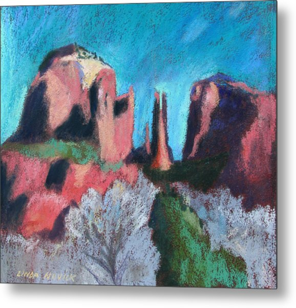 Cathedral Rock With Gray Trees Metal Print