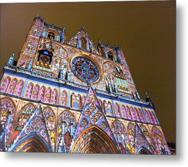 Cathedrale Saint-jean Illuminee Metal Print