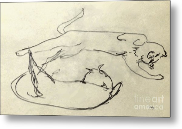 Cats A-courting Metal Print