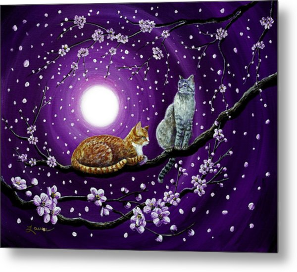 Cats In Dancing Cherry Blossoms Metal Print