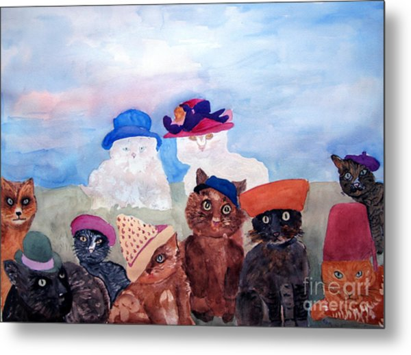 Cats In Hats Metal Print