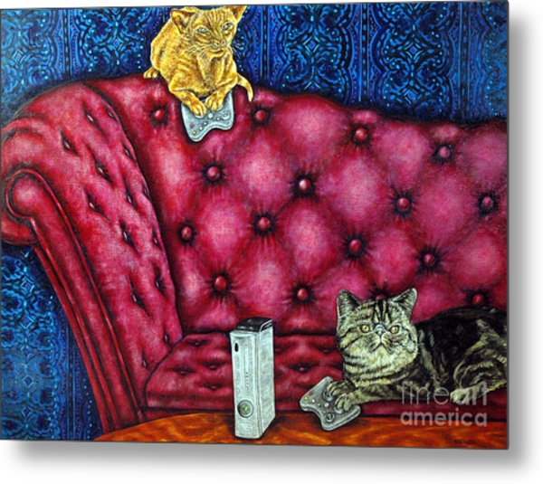 Cats Playing X Box Metal Print by Jay  Schmetz