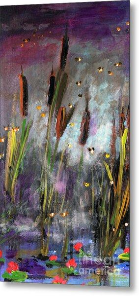 Cattails And Fireflies Metal Print