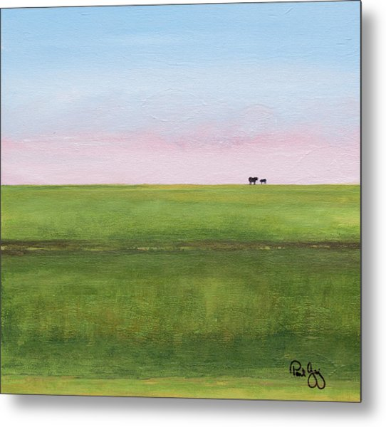 Cattle On The Levee Metal Print