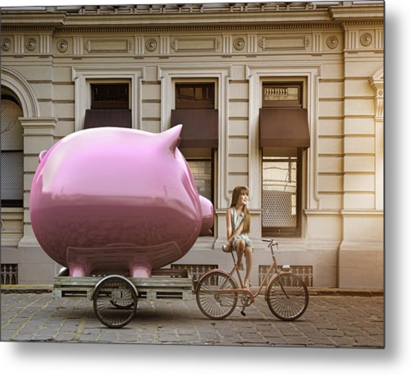 Caucasian Girl Pulling Piggy Bank On Bicycle Cart Metal Print by Colin Anderson Productions pty ltd
