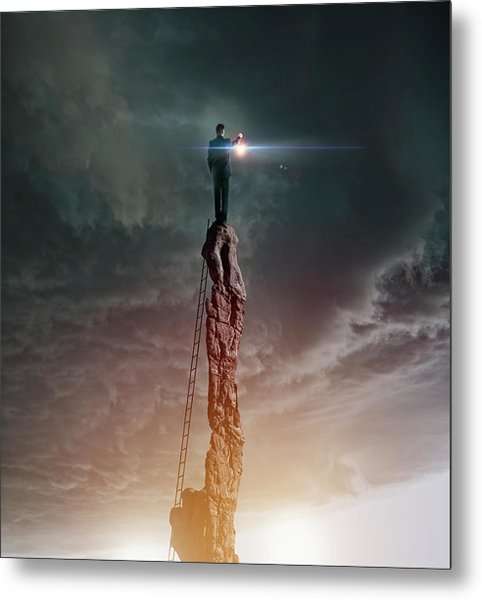 Caucasian Man With Lantern On Rocky Metal Print by Colin Anderson Productions Pty Ltd