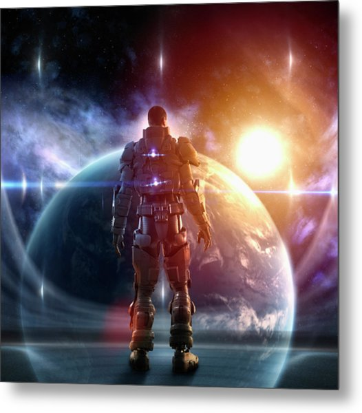 Caucasian Soldier Wearing Glowing Armor Metal Print by Colin Anderson Productions Pty Ltd