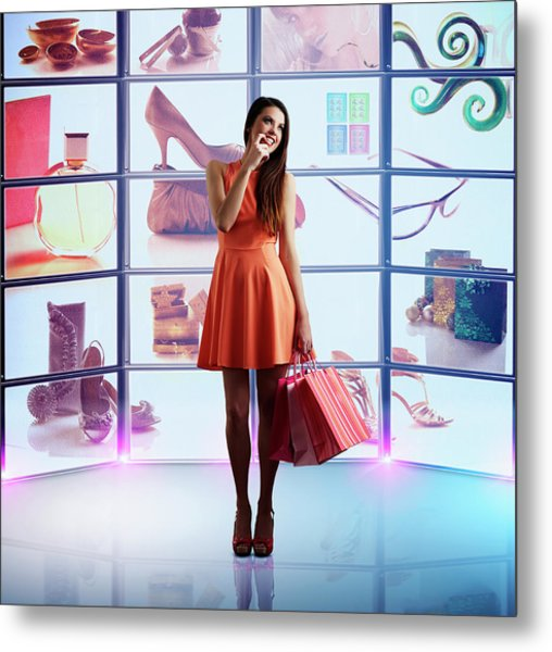 Caucasian Woman Shopping Online Metal Print by Colin Anderson Productions Pty Ltd