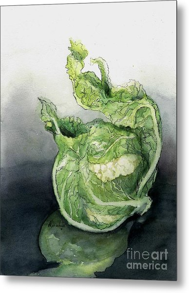 Cauliflower In Reflection Metal Print