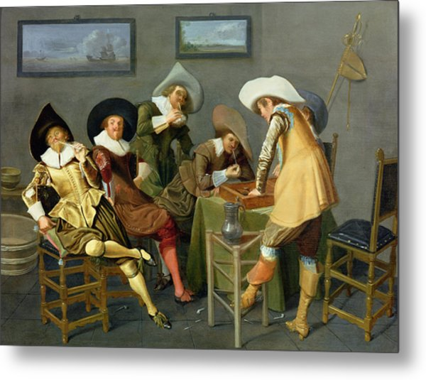 Cavaliers In A Tavern Oil On Canvas Metal Print