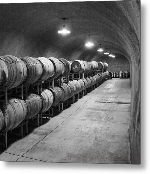 Cave Storage Of Wine Barrels Metal Print by Kent Sorensen
