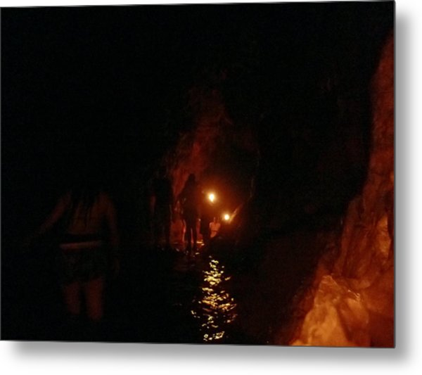 Caving With Candles And Cutoffs Metal Print