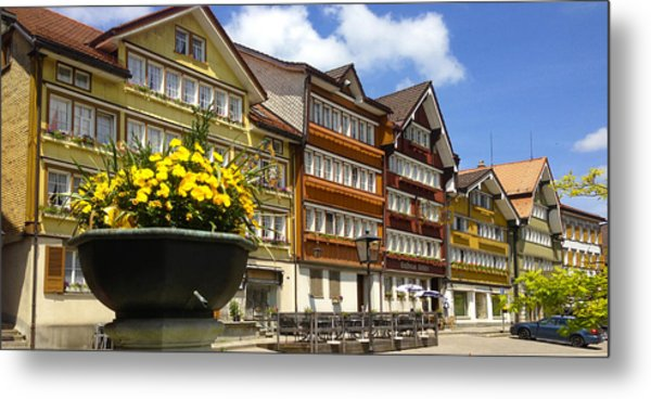 Ccolourful Traditional Appenzeller Homes Urnaesch Canton Appenzell Outer Rhodes Switzerland Metal Print by PIXELS  XPOSED Ralph A Ledergerber Photography