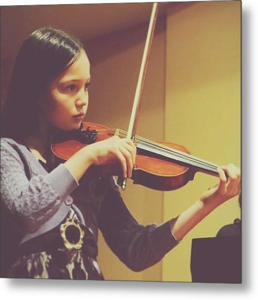 Celeste Playing #violin 😊#music Metal Print