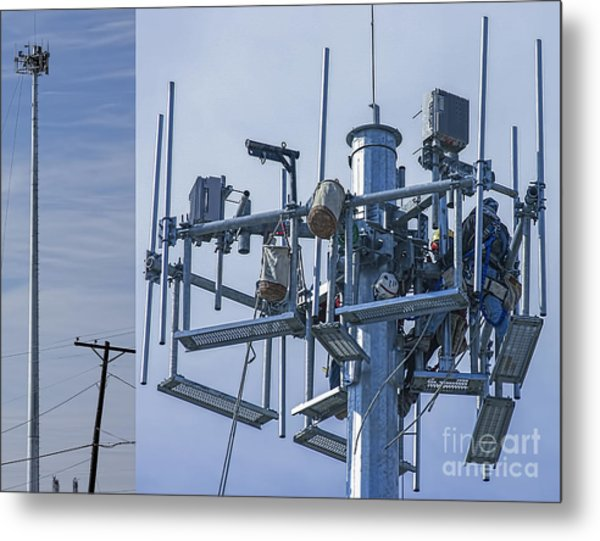 Cell Tower Workers Metal Print