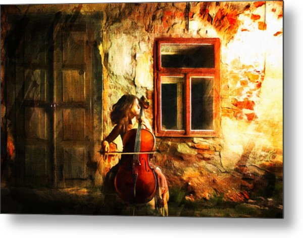 Cellist By Night Metal Print