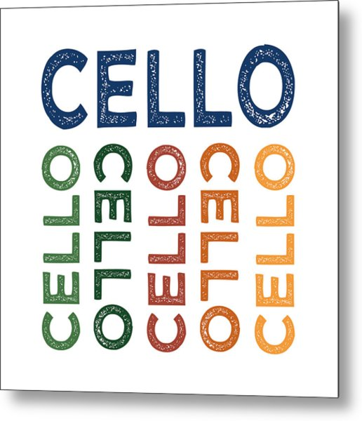 Cello Cute Colorful Metal Print