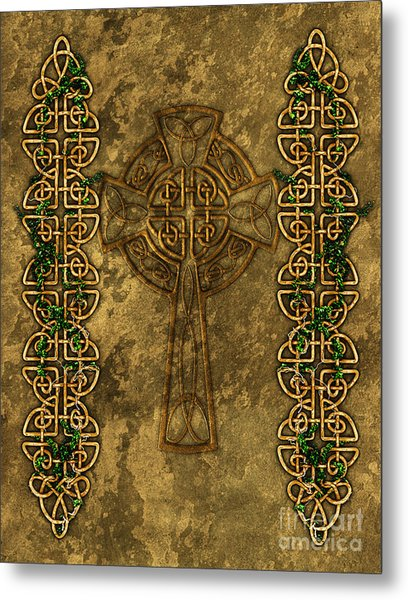 Celtic Cross And Ivy Metal Print
