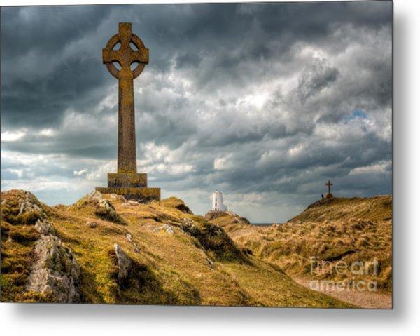 Celtic Cross At Llanddwyn Island Metal Print