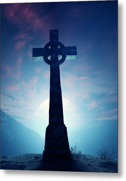Celtic Cross With Moon Metal Print