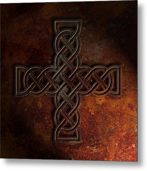 Metal Print featuring the digital art Celtic Knotwork Cross 2 Rust Texture by Brian Carson