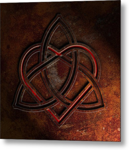 Metal Print featuring the digital art Celtic Knotwork Valentine Heart Rust Texture 1 by Brian Carson