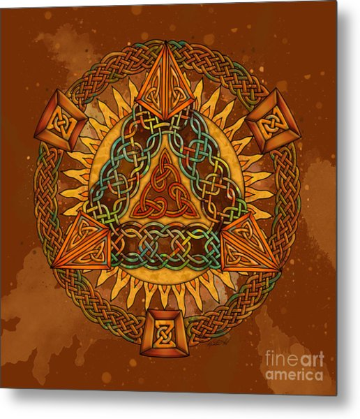 Celtic Pyramid Mandala Metal Print