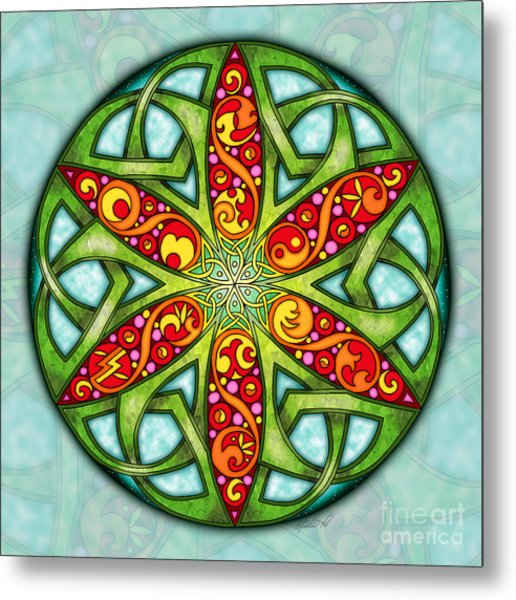 Metal Print featuring the mixed media Celtic Summer Mandala by Kristen Fox