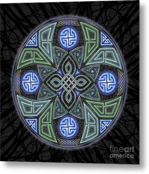Metal Print featuring the mixed media Celtic Ufo Mandala by Kristen Fox