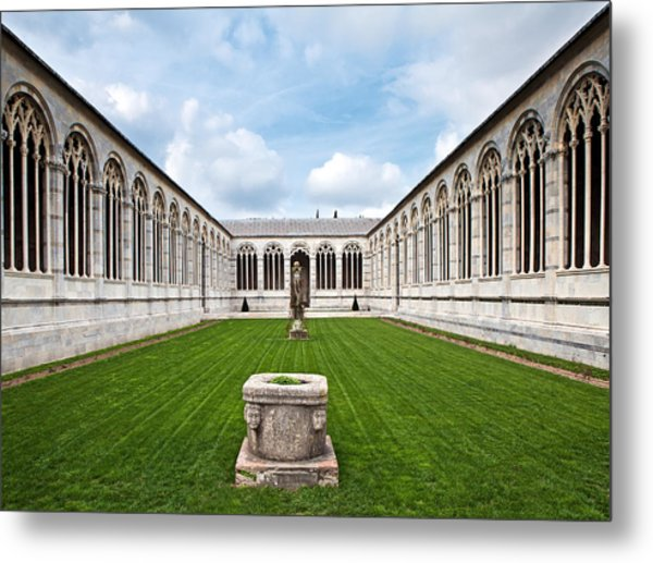 Cemetery At Cathedral Square In Pisa Italy Metal Print by Susan Schmitz