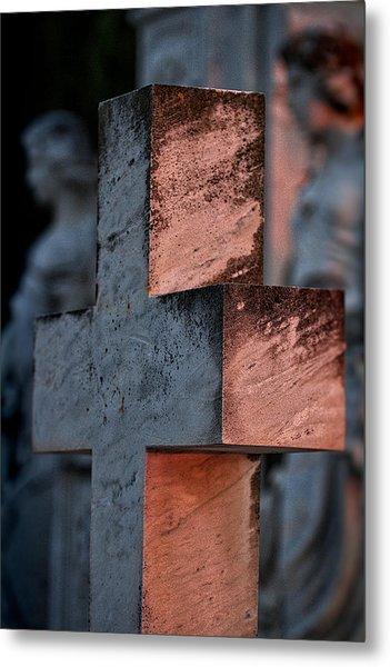 Cemetery Cross - Hvar Croatia Metal Print