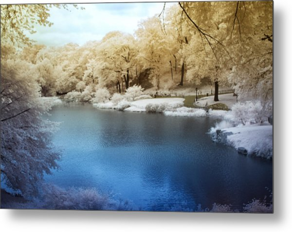 Central Park Lake Infrared Metal Print