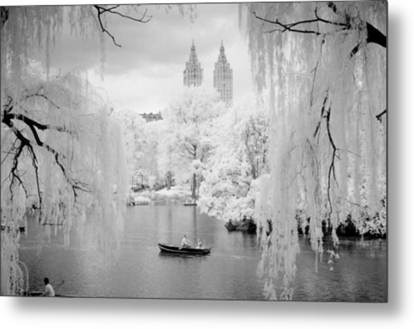 Central Park Lake-infrared Willows Metal Print