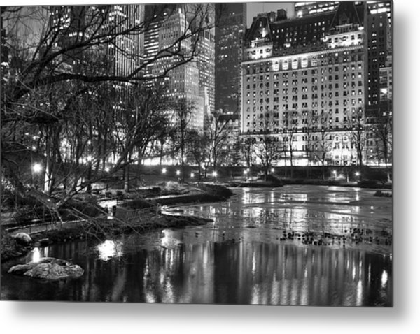 Central Park Lake Night Metal Print