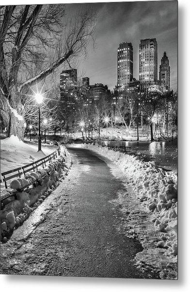 Central Park Path Night Black & White Metal Print