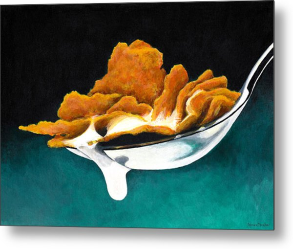 Cereal In Spoon With Milk Metal Print