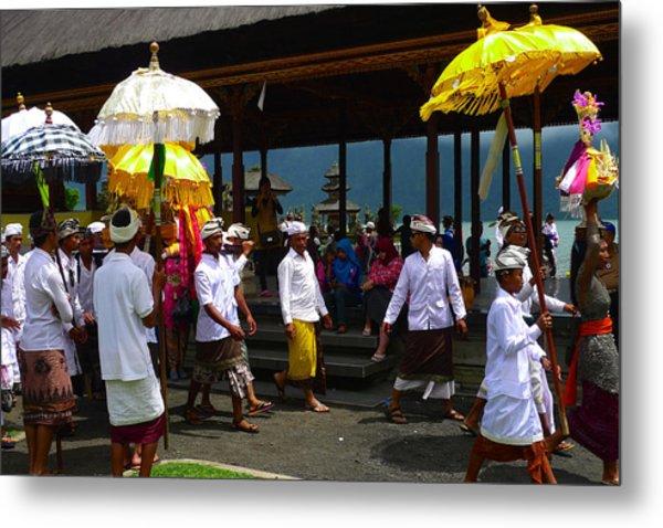 Ceremony At Lake Beratan Bali Metal Print
