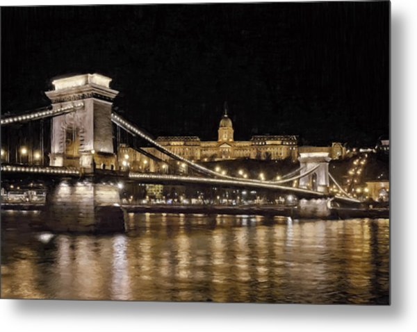 Chain Bridge And Buda Castle Winter Night Painterly Metal Print