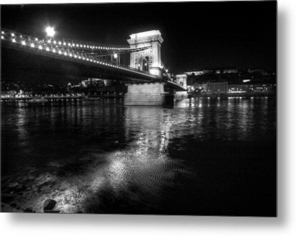 Chain Bridge Danube River Metal Print