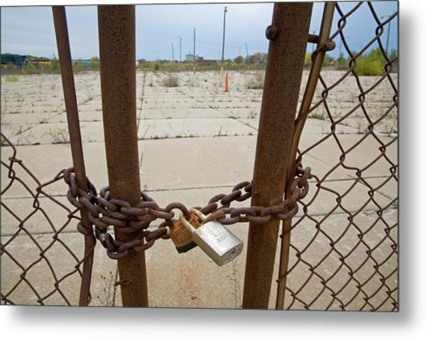 Chained And Padlocked Gate Metal Print by Jim West