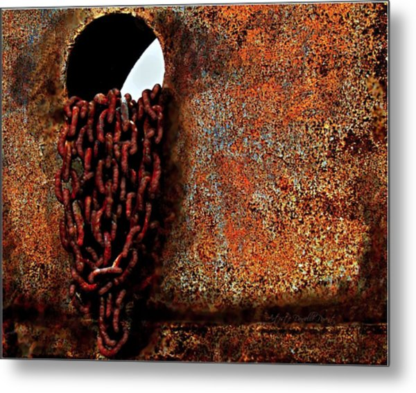 Chained To The Past And Rusted Metal Print