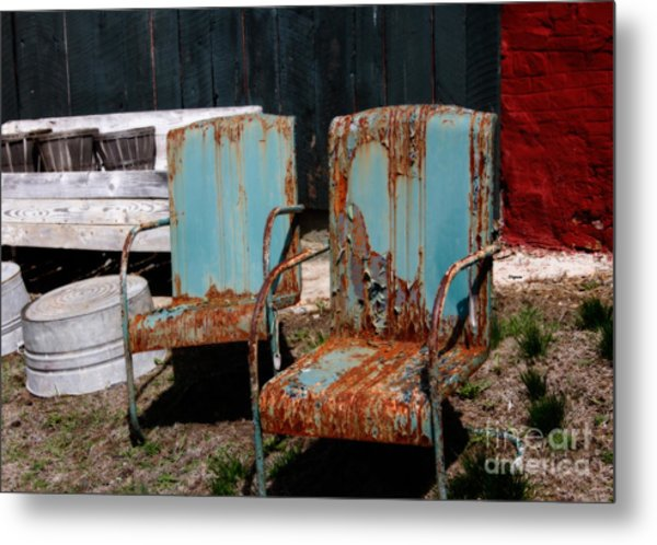 Chair Blossoms  Metal Print by Steven Digman