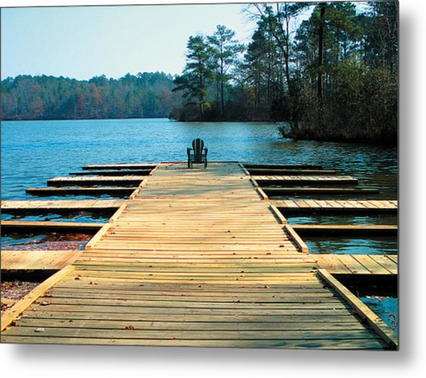 Chair On Dock By Jan Marvin Metal Print