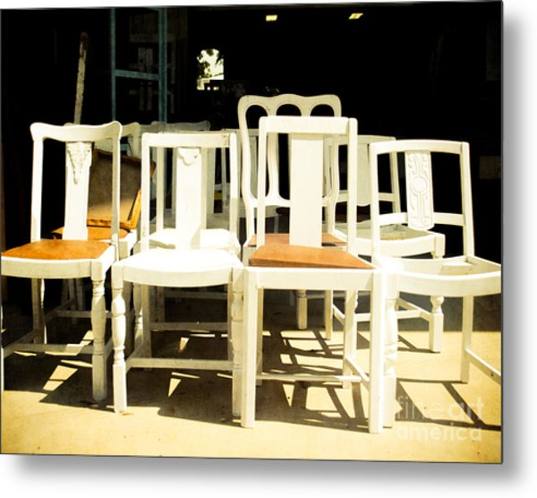 Chairs In White Metal Print by Sonja Quintero
