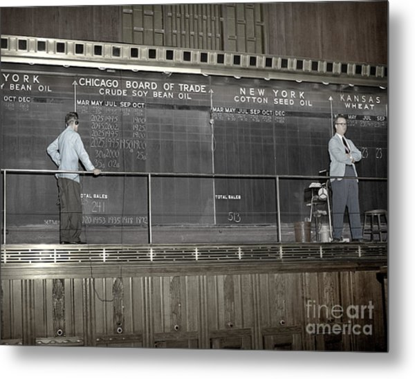 Chalk Board Of Trade 1951 Metal Print