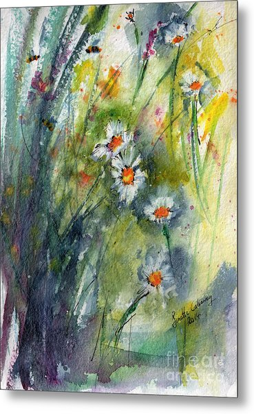 Chamomile Botanical Watercolor Metal Print