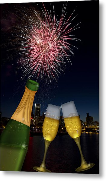 Champagne Toast With Portland Oregon Skyline Metal Print