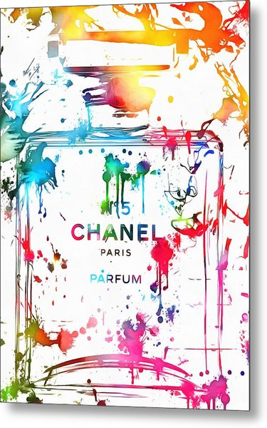 Chanel Number Five Paint Splatter Metal Print